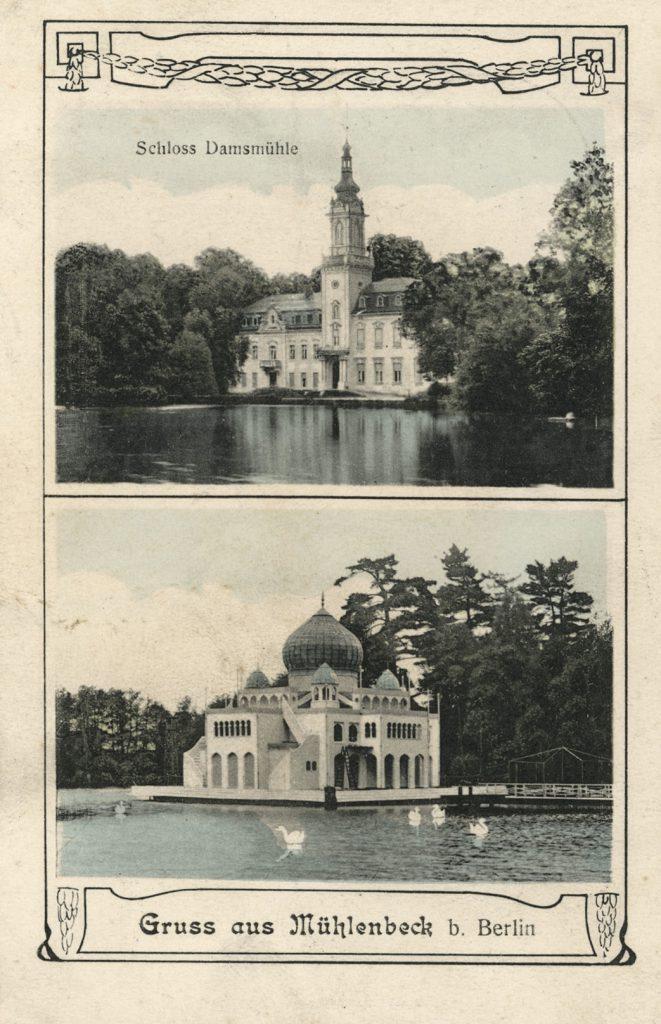 Ansichtskarte von Schloss Dammsmühle aus dem Jahr 1912